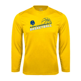 Syntrel Performance Gold Longsleeve Shirt-Angled Basketball Design
