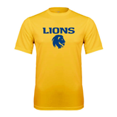 Syntrel Performance Gold Tee-Stacked Lions with Head