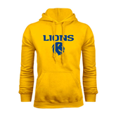 Gold Fleece Hoodie-Stacked Lions with Head