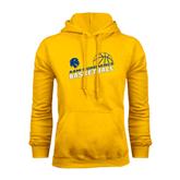 Gold Fleece Hoodie-Angled Basketball Design
