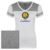 Ladies White/Heathered Grey Juniors Varsity V Neck Tee-Mascot AM Commerce