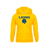 Youth Gold Fleece Hoodie-Stacked Lions with Head