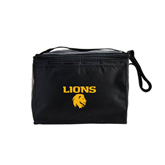 Six Pack Black Cooler-Stacked Lions with Head