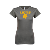 Ladies SoftStyle Junior Fitted Charcoal Tee-Stacked Lions with Head