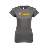 Ladies SoftStyle Junior Fitted Charcoal Tee-Flat A&M Commerce Lions