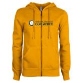 ENZA Ladies Gold Fleece Full Zip Hoodie-Texas A&M University Commerce