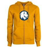 ENZA Ladies Gold Fleece Full Zip Hoodie-Mascot Logo