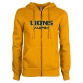 ENZA Ladies Gold Fleece Full Zip Hoodie-Lions Alumni