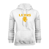 White Fleece Hoodie-Stacked Lions with Head