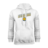White Fleece Hoodie-Angled Lets Go Lions