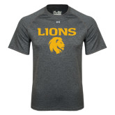 Under Armour Carbon Heather Tech Tee-Stacked Lions with Head