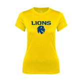 Ladies Syntrel Performance Gold Tee-Stacked Lions with Head