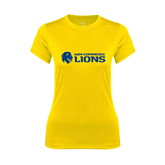 Ladies Syntrel Performance Gold Tee-Flat A&M Commerce Lions