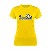 Ladies Syntrel Performance Gold Tee-Soccer Swoosh