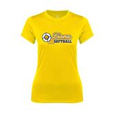Ladies Syntrel Performance Gold Tee-Softball Script