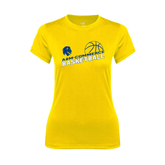 Ladies Syntrel Performance Gold Tee-Angled Basketball Design