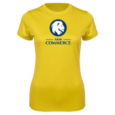 Ladies Syntrel Performance Gold Tee-Mascot AM Commerce