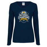 Ladies Navy Long Sleeve V Neck T Shirt-2017 National Champions
