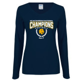 Ladies Navy Long Sleeve V Neck T Shirt-2017 National Football Champions