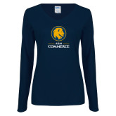 Ladies Navy Long Sleeve V Neck T Shirt-Mascot AM Commerce