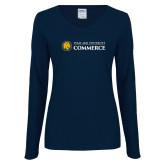 Ladies Navy Long Sleeve V Neck T Shirt-Texas A&M University Commerce