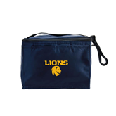 Six Pack Navy Cooler-Stacked Lions with Head