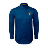 Navy Twill Button Down Long Sleeve-Stacked Lions with Head