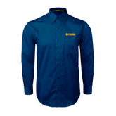 Navy Twill Button Down Long Sleeve-Flat A&M Commerce Lions