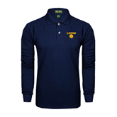 Navy Long Sleeve Polo-Stacked Lions with Head