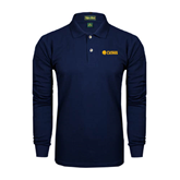 Navy Long Sleeve Polo-Flat A&M Commerce Lions