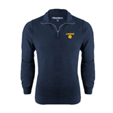 Navy Rib 1/4 Zip Pullover-Stacked Lions with Head