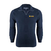 Navy Rib 1/4 Zip Pullover-Flat A&M Commerce Lions