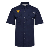 Columbia Bonehead Navy Short Sleeve Shirt-Stacked Lions with Head