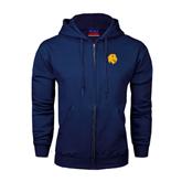 Navy Fleece Full Zip Hoodie-Official Logo
