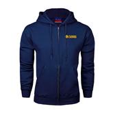Navy Fleece Full Zip Hoodie-Flat A&M Commerce Lions