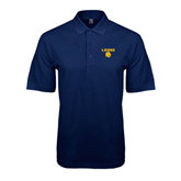 Navy Easycare Pique Polo-Stacked Lions with Head