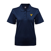 Ladies Easycare Navy Pique Polo-Stacked Lions with Head