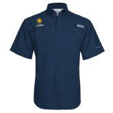 Columbia Tamiami Performance Navy Short Sleeve Shirt-Mascot AM Commerce