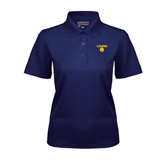 Ladies Navy Dry Mesh Polo-Stacked Lions with Head