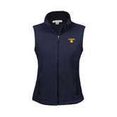 Ladies Fleece Full Zip Navy Vest-Stacked Lions with Head