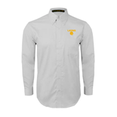 White Twill Button Down Long Sleeve-Stacked Lions with Head
