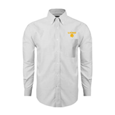 Mens White Oxford Long Sleeve Shirt-Stacked Lions with Head