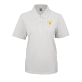 Ladies Easycare White Pique Polo-Stacked Lions with Head