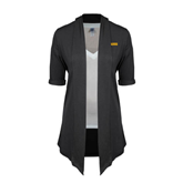 Ladies Grey Drape Front Cardigan-Flat A&M Commerce Lions