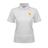 Ladies White Dry Mesh Polo-Official Logo