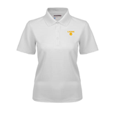 Ladies White Dry Mesh Polo-Stacked Lions with Head