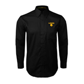 Black Twill Button Down Long Sleeve-Stacked Lions with Head