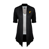 Ladies Black Drape Front Cardigan-Stacked Lions with Head