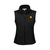 Ladies Fleece Full Zip Black Vest-Official Logo