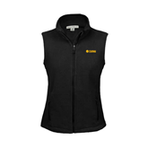 Ladies Fleece Full Zip Black Vest-Flat A&M Commerce Lions
